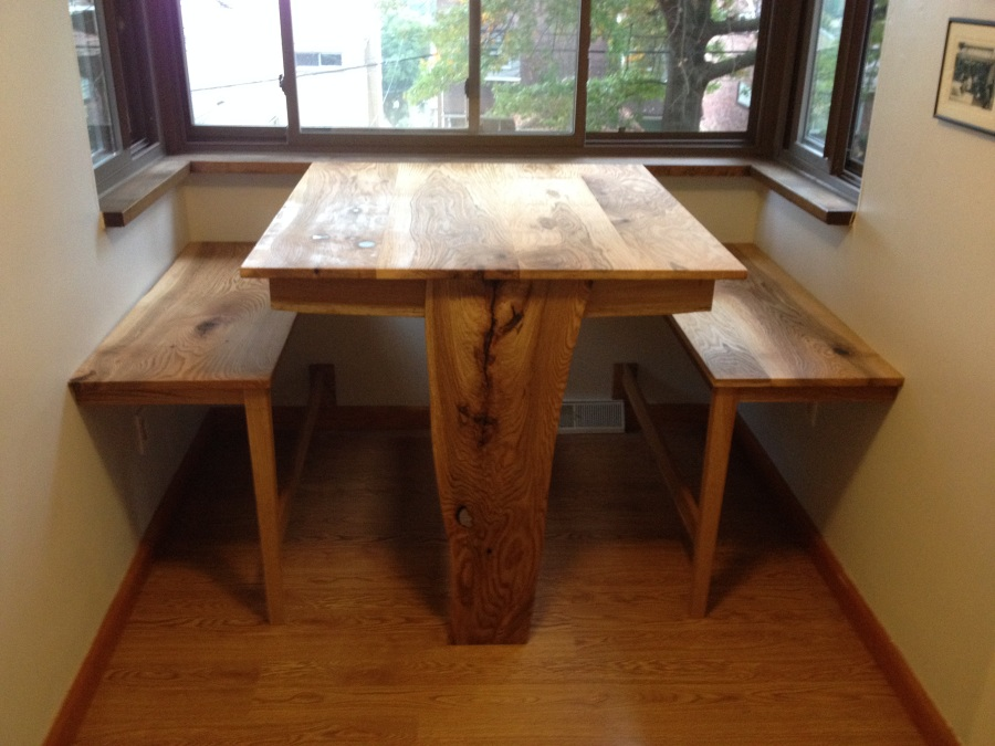 Reinforced Crotch Wood Table Leg Attached Directly To The Floor, Foot  Rests, And A Surprisingly Large Surface Area. All Components Are Salvaged  White Oak.